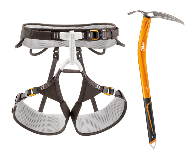Petzl Aquila harness and Summit Evo axe